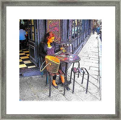 The Brasserie In Paris Framed Print by Jan Matson