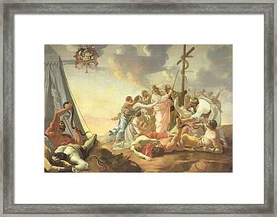 The Brazen Serpent, Right Hand Section Oil On Canvas Framed Print by Simon Vouet