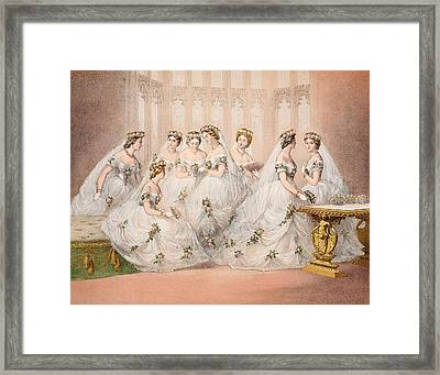The Bridesmaids, 10th March, 1863 - Marriage Of Edward Vii And Alexandra Of Denmark Framed Print by English School