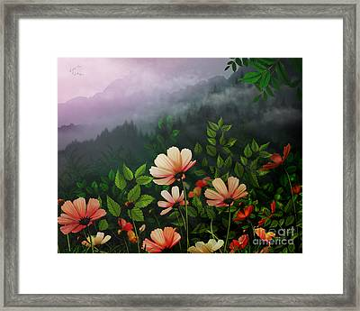 The Brighter Side Of The Dark Mountains Framed Print by Bedros Awak