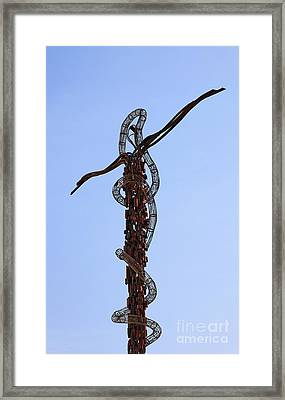 The Bronze Brazen Serpent Sculpture At Mount Nebo Jordan Framed Print by Robert Preston