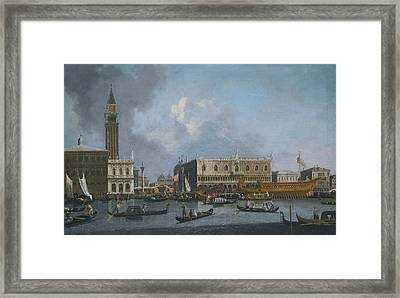 The Bucintoro Returning To The Molo On Ascension Day Framed Print by Celestial Images