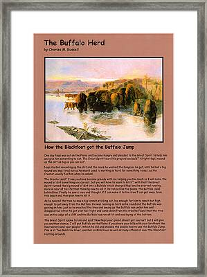 The Buffalo Heard  Framed Print by Charles Russell