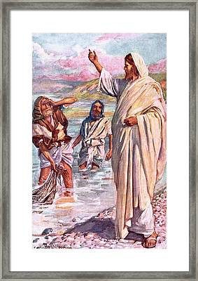 The Call Of Andrew And Peter Framed Print by Harold Copping
