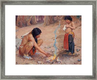 The Campfire Framed Print by EI Couse
