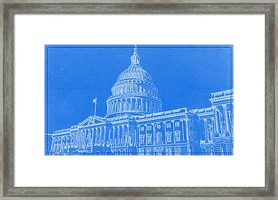 The Capitol Blueprint Framed Print by Celestial Images