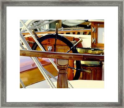 The Captain's Wheel Framed Print by Karen Wiles