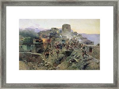 The Capture Of Aul Gimry, 17th October 1832, 1891 Oil On Canvas Framed Print by Franz Roubaud
