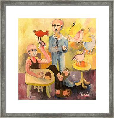 The Cardinal Sings Framed Print by Moshe BenReuven