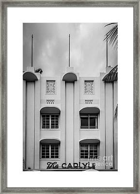 The Carlyle Art Deco Detail South Beach Miami - Black And White Framed Print by Ian Monk