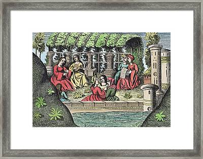 The Castle Of Alamond And Its Enchantments Framed Print by French School