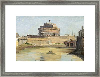 The Castle Of St. Angelo, Rome Oil On Canvas Framed Print by Jean Baptiste Camille Corot