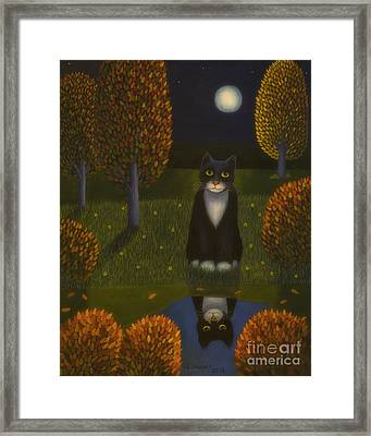 The Cat And The Moon Framed Print by Veikko Suikkanen