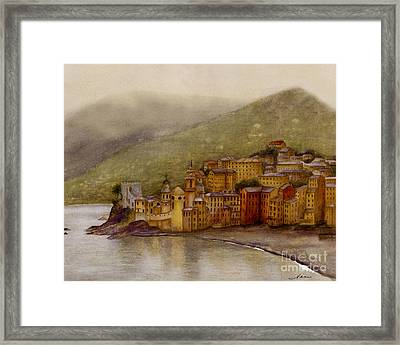The Charming Town Of Camogli Italy Framed Print by Nan Wright
