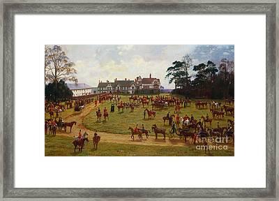 The Cheshire Hunt    The Meet At Calveley Hall  Framed Print by George Goodwin Kilburne