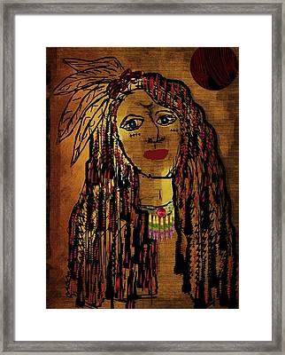 The Cheyenne Indian Warrior Brave Wolf Pop Art Framed Print by Pepita Selles