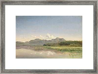 The Chiemsee At Stock Oil On Paper Mounted On Canvas Framed Print by Johann Beckmann