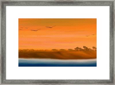 The Cliffs At Sunset - Digital Artwork Framed Print by Gina Lee Manley