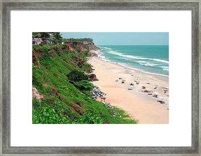 The Cliffs At Varkala Beach Overlooking Framed Print by Steve Roxbury