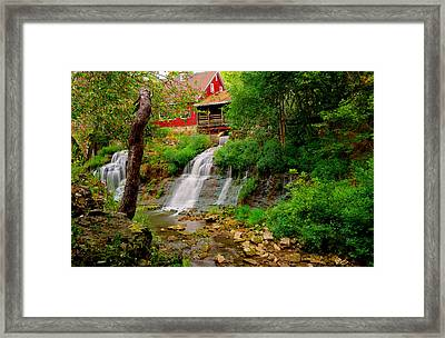 The Clifton Mill And Waterfall- Clifton Ohio Framed Print by Gregory Ballos
