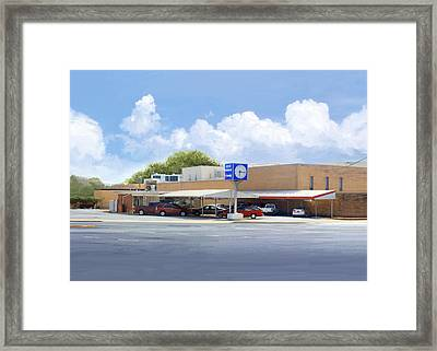 The Clock Drive-in Framed Print by Greg Joens
