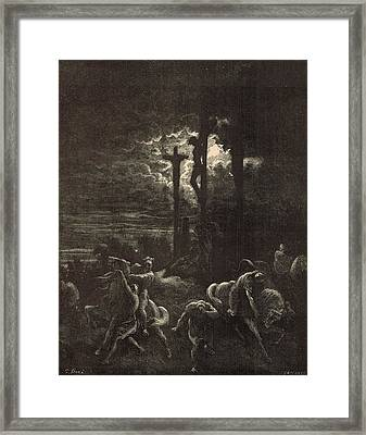 The Close Of The Crucifixion Framed Print by Antique Engravings