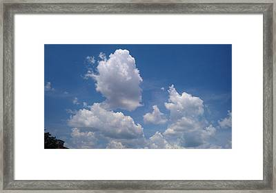 The Cloud Moustachioed Man And His Puppy Framed Print by Abhilasha Borse