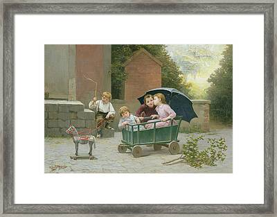 The Coach Ride Framed Print by Charles Bertrand DEntraygues