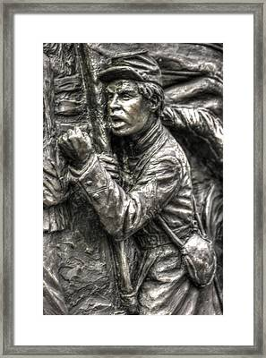 The Color Sergeant.  State Of Delaware Monument Detail-g Gettysburg Autumn Mid-day. Framed Print by Michael Mazaika