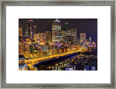 The Colors Of Night Lights In Seattle Framed Print by Ken Stanback
