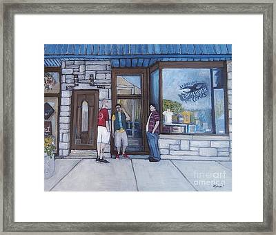 The Comic Book Shop Framed Print by Reb Frost