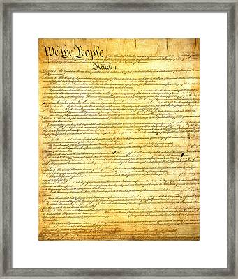 The Constitution Of The United States Of America Framed Print by Design Turnpike