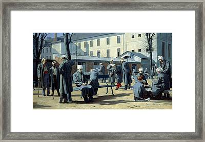 The Convalescents, 1861 Oil On Canvas Framed Print by Marie Francois Firmin-Girard
