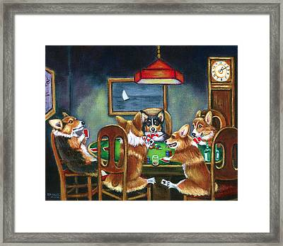 The Corgi Poker Game Framed Print by Lyn Cook