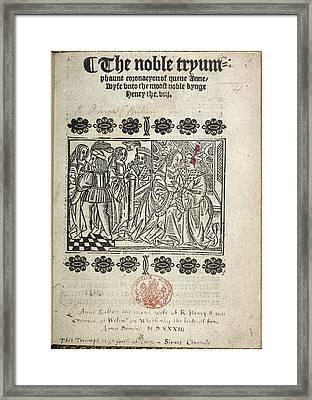 The Coronation Of Anne Boleyn Framed Print by British Library