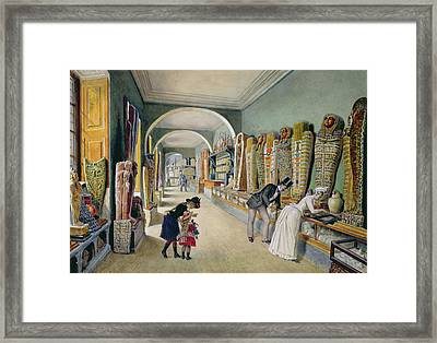The Corridor And The Last Cabinet Of The Egyptian Collection In The Ambraser Collection Framed Print by Carl Goebel