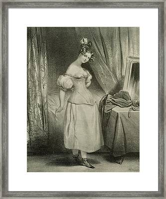 The Corset Framed Print by Achille Deveria