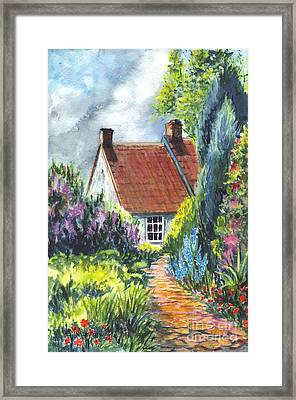 The Cottage Garden Path Framed Print by Carol Wisniewski