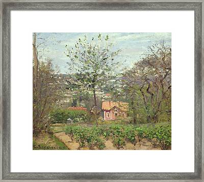The Cottage, Or The Pink House - Hamlet Of The Flying Heart, 1870 Oil On Canvas Framed Print by Camille Pissarro