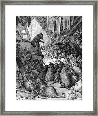 The Council Held By The Rats Framed Print by Gustave Dore