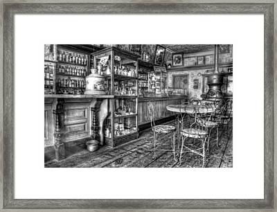 The Counter Black And White Framed Print by Ken Smith