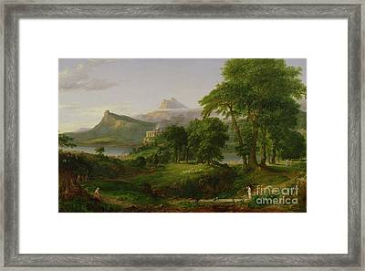 The Course Of Empire   The Arcadian Or Pastoral State Framed Print by Thomas Cole