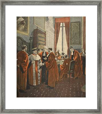 The Court Of Appeal During The Zola Framed Print by Fortune Louis Meaulle