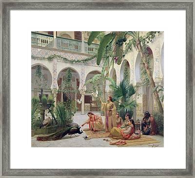 The Court Of The Harem Framed Print by Albert Girard