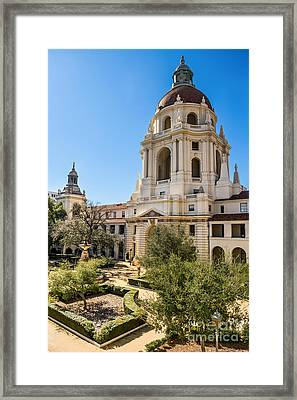 The Courtyard - Beautiful Pasadena City Hall. Framed Print by Jamie Pham