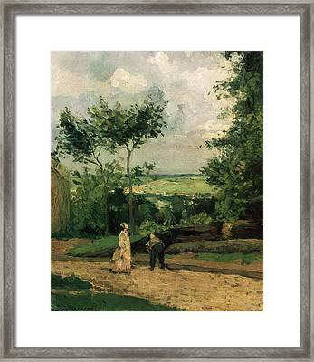 The Courtyard At Louveciennes Framed Print by Camille Pissarro