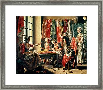 The Couturiers Workshop, Arles, 1760 Oil On Canvas Framed Print by Antoine Raspal