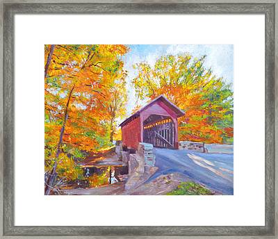 The Covered Bridge Framed Print by David Lloyd Glover