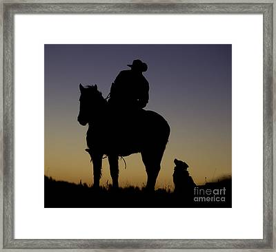 The Cowboy And His Dog Framed Print by Carol Walker