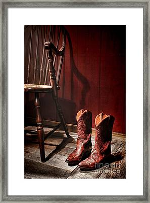The Cowgirl Boots And The Old Chair Framed Print by Olivier Le Queinec